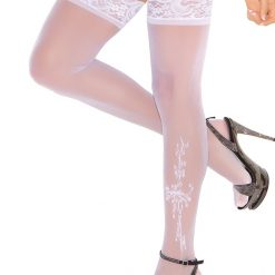 Thigh High with Floral Applique 1703