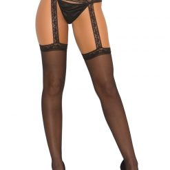 Sheer Stockings with Lace Garter Belt 1714